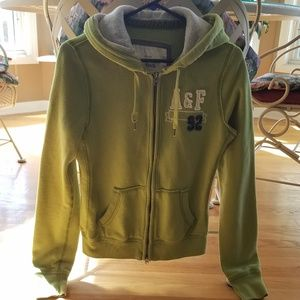Abercrombie & Fitch Green Zip Up Hoodie - Large